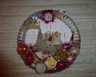 Gorgeous Repurposed Vintage Christmas Pink Ceramic Head Angel Tart Tin Wreath OOAK