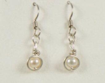 Freshwater Pearl Drop Earrings, Argentium Sterling Silver