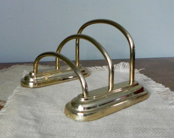 vintage solid brass desk organizer paper mail files filing magazine rack - 4 1/2 inches tall