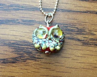 Cute Lampowork Glass Owl Necklace, SRA, Silver-Plated Ball Chain