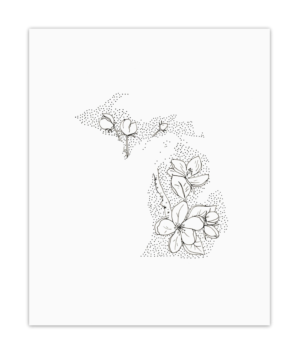 Michigan Apple Blossom State Flower Drawing Giclee