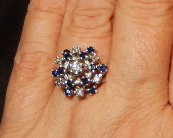 14k Sapphire & Diamond Cocktail Ring