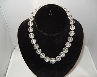 Vintage Faceted Crystal Graduated Bead Necklace