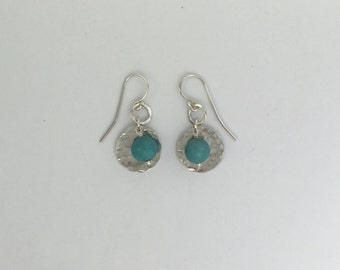 Pretty Hammered Silver Disc and Turquoise Bead Drop Earring