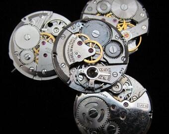 Vintage Antique Round Watch Movements Steampunk Altered Art Assemblage A 54