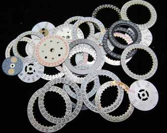 Vintage Antique Watch Dials Number Date Wheels Rings Steampunk Faces Parts H 22
