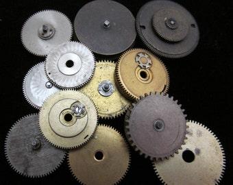 12 Antique Vintage Clock Watch Parts Cogs Gears Assemblage Steampunk Industrial GS 2