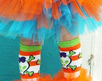 Cross Bone Halloween Ruffle tutu leg warmers, Tutu Leggings, Perfect for your little pumpkin, Halloween costume, party, photos