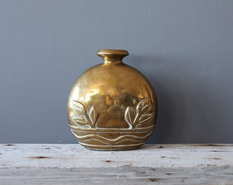 Large Heavy Solid Brass Vase