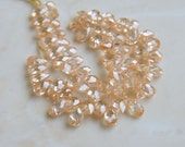 Cubic Zirconia CZ Faceted Pear Briolette Champagne 5mm 30 beads 1/2 Strand
