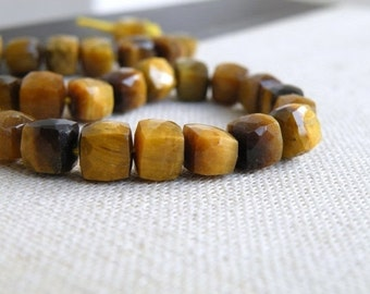 Tiger Eye Gemstone Cube Faceted Drilled Beads 6.5mm 15 beads 1/2 strand