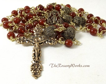 Miraculous Medal Rosary Beads Vintage Style Solid Brass Bali Filigree Hearts Carnelian Wire Wrapped Unbreakable Traditional Catholic