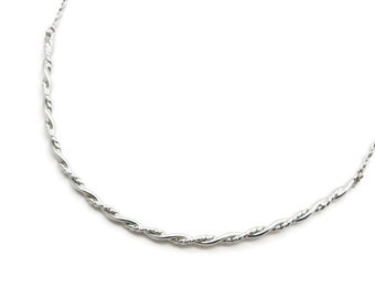 Simple Sterling Necklace - Silver Twisted Chain