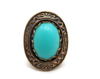 Copper and Turquoise Lucite Ring - Adjustable, 12k GF Shank Statement Ring, Southwest Style