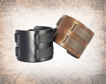 Plain Leather Cuff, Leather Wristband, Brown Leather Cuff, Leather Bracelet, Black Leather Cuff, Leather Band - Custom to You (1 cuff only)