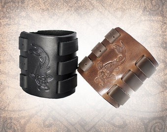 Koi Leather Cuff, Leather Wristband, Brown Leather Cuff, Leather Bracelet, Black Leather Cuff, Leather Band - Custom to You (1 cuff only)