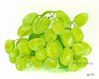 Original Still Life Painting, Pastel, Still Life, Fruit, Home Decor, Kitchen, Green Grapes, Reduced Price, Sale