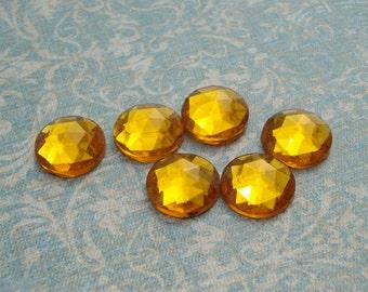 6 Vintage 13mm Topaz Rauten Rose Czech Gold Foiled Flat Back Faceted Glass Cabs