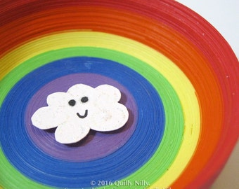 Paper Quilled Ring Dish, rainbow with happy cloud, READY TO SHIP