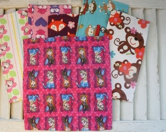 """Set of 6 8"""" Mixed Girls Flannel Cloth Napkins   Lunchbox /Luncheon  Set  10"""