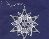 Germany Woven Cotton Thread Christmas Snowflake Ornament For Crafting Silver & White  LHS022