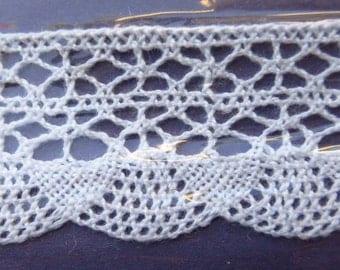 Czech Republic 2 Yards 100% Cotton Woven Lace Crochet Edging Trim 32mm Wide White VT 40