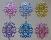 6 Medium Foil Flourish Die Cuts Made With Anna Griffin Dies 4.75 by 3.25 Inches Metallic Card Stock in Bright Colors