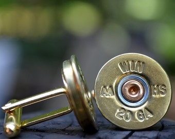 Wedding cuff links shotgun cuff links bullet cufflinks Winchester AA 20 gauge wedding cuff links gold cuff links bullet cufflinks