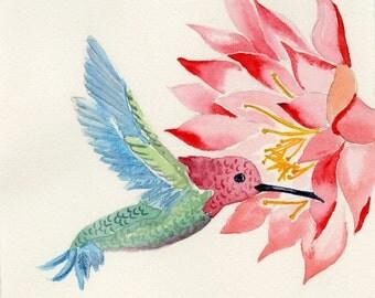 Hummingbird Watercolor, Bird Art, Original 8 x 10 matted
