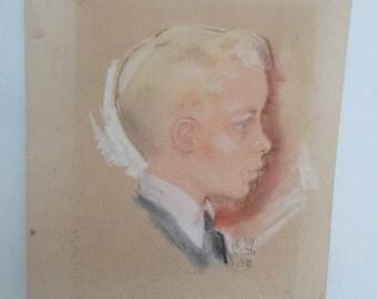 Pastel Portrait of a Young Blond Boy 1950's Street Art Sidewalk Drawings