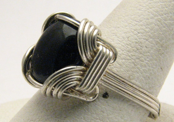 Handmade Sterling Silver Mini Wire Wrap Black Onyx Ring 10mm 3ct