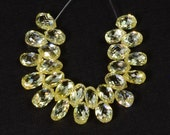 5.5CT Faceted Rose Cut Natural Fancy Yellow Diamond Teardrop Briolette Bead (25)