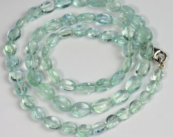 Natural Tanzanian Blue Green Beryl Smooth Oval Nugget Beads 18 inch strand