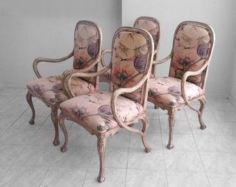 4 italian FLORENTINE vintage carved antiqued claw foot dining chairs