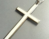 Art Deco Sterling Silver Enamel Cross Pendant Necklace