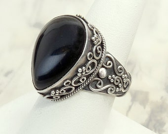 Sterling Silver Black Onyx Bohemian Ring Size 8 Statement Ring