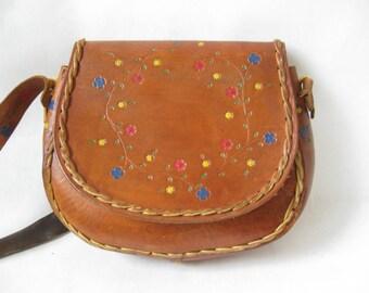 Vintage 70's Tooled Leather Purse