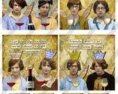 """Digital Collage Sheet, 4X4"""", Funny Wine Ladies, Coasters with 1.5"""" Charms, Square and Round, (Sheet no. FS248) Instant Download"""