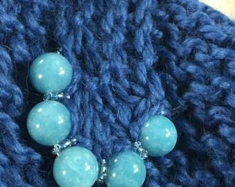 Mindful Wrap, Wearable Fiber Art-Blue Agates on a Chunky Soft Azure Alpaca Mindfulness Mantle