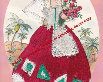 Vintage Silk Embroidered Canaria Postcard Elsi Gumier Made in Spain