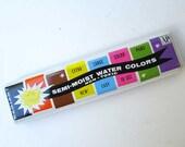 Vintage 1980's Radiant Water Colors Tin  Paint Set w Color Palette Images and Radiant Sun, Art Crayon Co., Vintage Paint Box