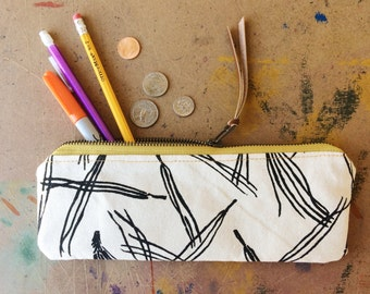 pencil case • zipper bag • black and white - hand screenprinted pine needle print - zipper pouch - fall style • native