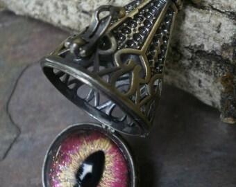 Gothic Steampunk Hidden Secret Eye Pendant Soft Pink