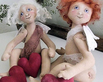 Primitive Folk Art Angel Cupid Valentine Painted Cloth Art Doll Instant Download PDF EPattern Sewing and Painting Pattern by Edna Bridges