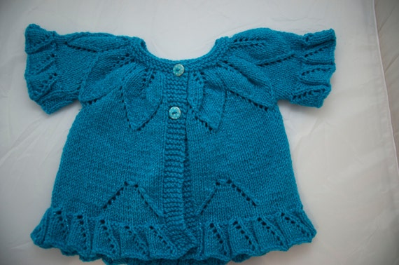 Handknitted Child's Cardigan/Tunic in Sparkly Blue size 12 month old