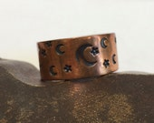 Copper Hand Stamped Ring - Textured  Moon and Stars - Wide Band  - Made to Order