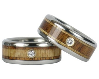 Diamond and Wood Wedding Ring Set