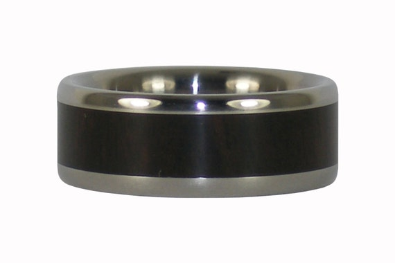 Black Wood inlaid Titanium Ring