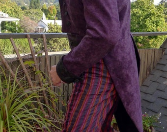 Purple and Black Tapestry Cloth Steampunk Frock Cutaway Swallowtail Wedding Jacket