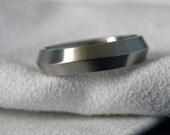 Knife Edge Ring or Wedding Band, Titanium, Satin Finish